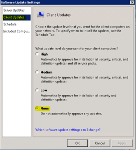 Disable WSUS Updates on SBS Server