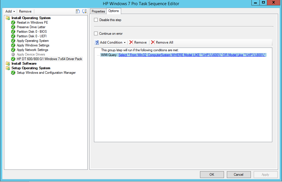 WMI Model Query for System Center or MDT Task Sequence