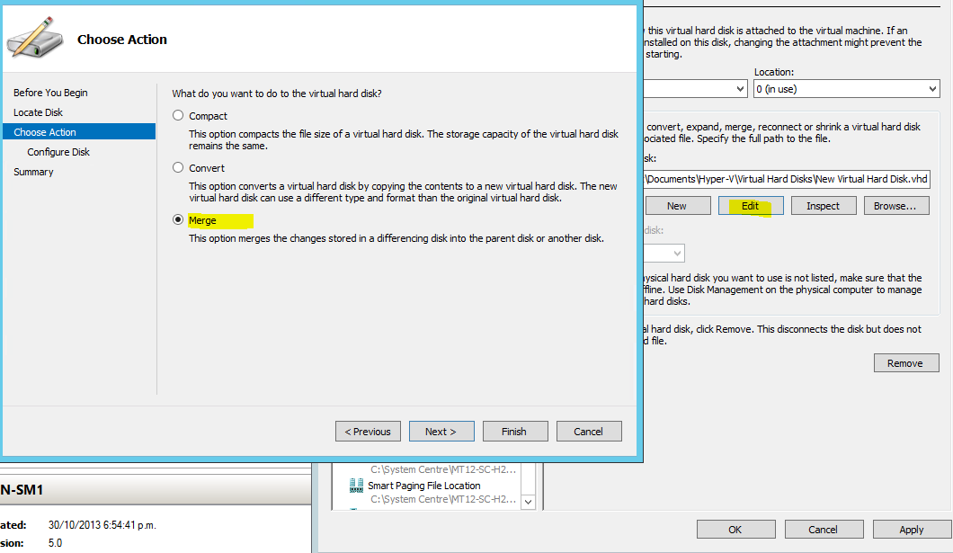 Merging a Hyper-V child VHD/VHDX differencing disks with the