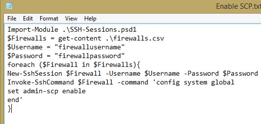 Using Powershell for bulk SSH commands on Fortigate
